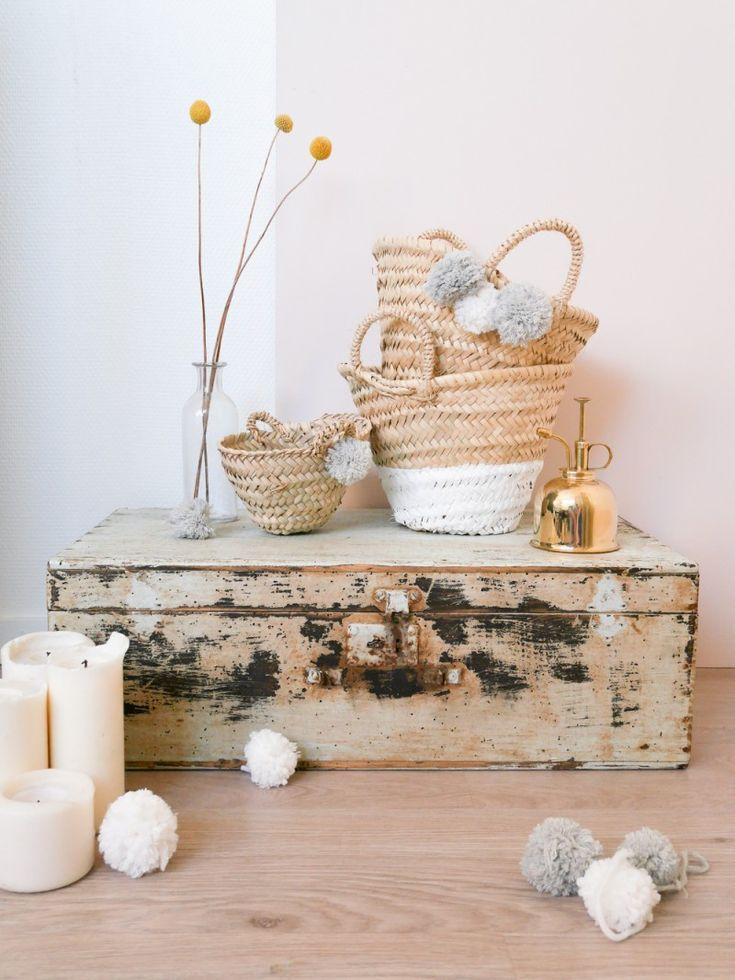DIY customisation de paniers - by Lili in wonderland : http://liliinwonderland.fr/diy-des-idees-pour-des-paniers-customises/