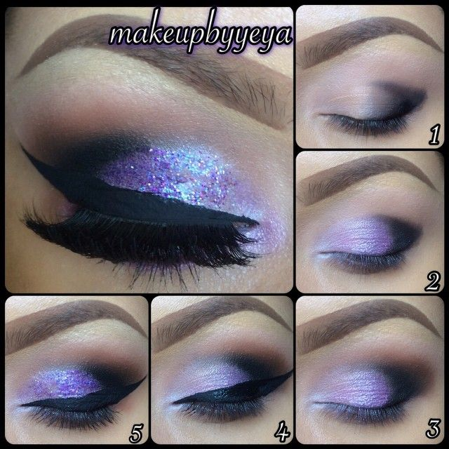 "Using @bhcosmetics 120 palette 3rd edition and ""galaxy chic"" palette, the glitter is by @pushacosmetics"