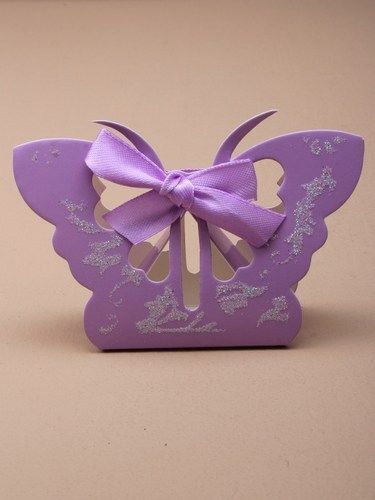 Lilac butterfly glitter favour gift box with bow, wedding table display party