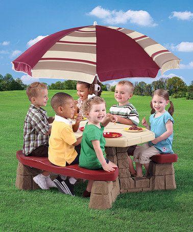 Attractive Step2 Maroon Kidsu0027 Picnic Table U0026 Umbrella