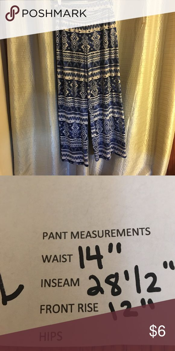 Studio 253 Tribal print pants Navy blue and cream tribal print pants, like new condition, only worn once. 96% polyester 4% spandex. Measurements in photographs Studio 253 Pants Wide Leg