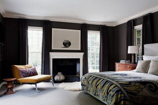 """""""We love using Farrow & Ball for master bedrooms, especially when we go dark because the pigments are so rich. We love designing master bedrooms that feel rich, layered, and mysterious...."""
