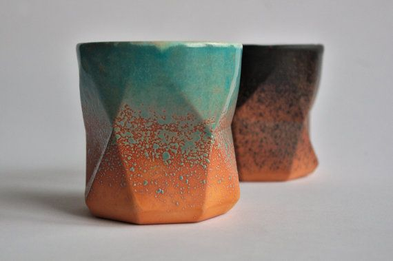 Turquise-orange geometric cup by ZebraDsgn on Etsy