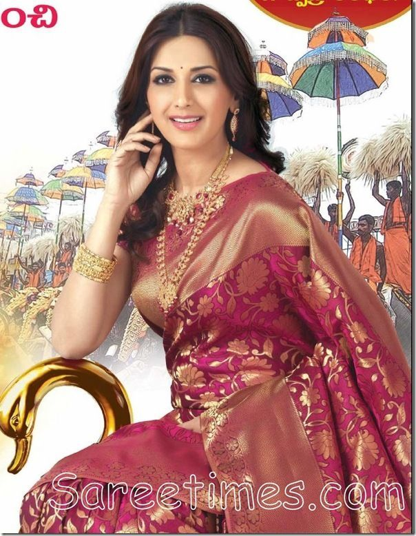 South Indian Sarees | Sonali Bendre in Kanchipuram Silk Saree | sareetimes