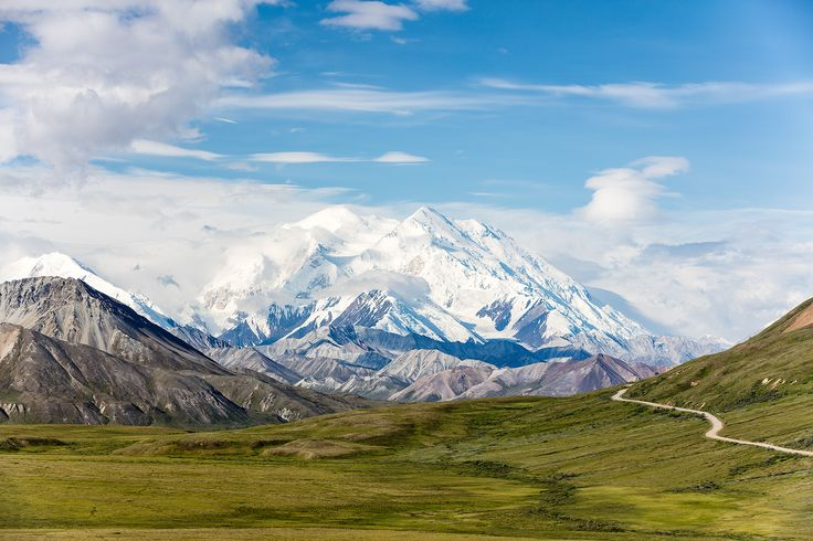Denali (Mt. McKinley) and Thorofare Pass  from Stony Hill in Denali National Park in Southcentral Alaska.