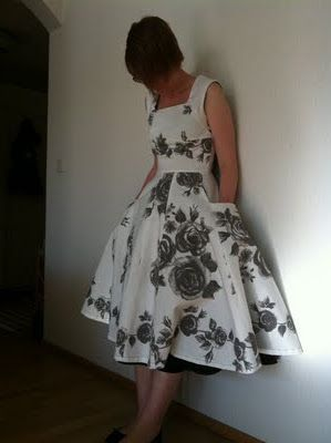 A vintage (couture) dress from scratch.  Theme/Inspiration:Ikea-fabric and the free dress pattern from V & A Museum in London. http://www.vam.ac.uk/vastatic/microsites/1486_couture/create.php