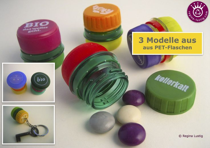 Döschen Salz- und Pfefferstreuer Döschen-Schlüsselanhänger Upcycling aus PET-Flaschen und Verschlüssen