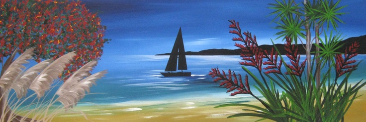 Title: A Kiwi Summer: Title: Original landscape painting by artist Megan Morris, painted in acrylics onto framed canvas.
