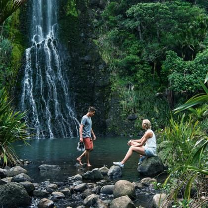 Karekare Falls, Waitakere Ranges. This stunning region includes more than 16,000 hectares of native rainforest and coastline, and natural treasures like the Karekare Falls.