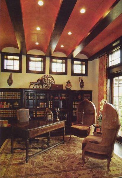 Home Library Spanish Style Library Interior Architecture Coved Ceilings Custom Cabinetry Street Of Dreams Library Bella Collina Montverde
