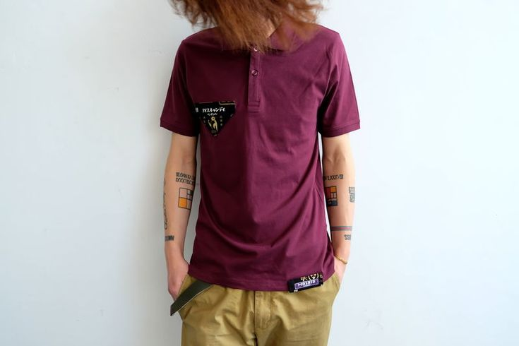 100% Combed CottonJersey / 4oz / 165gContrast patchesFabric/printed in JapanClaret redCustom design. Strictly limited custom design of 28 Handmade in UKModel wears size S