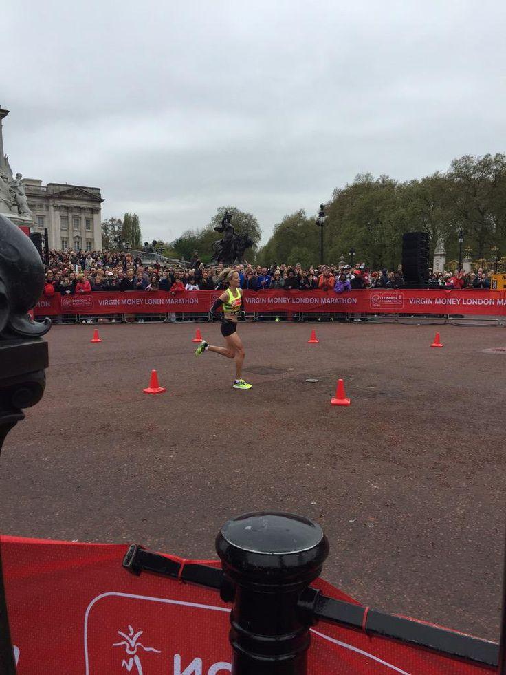 Sonia Samuels on way to finish. #LondonMarathon