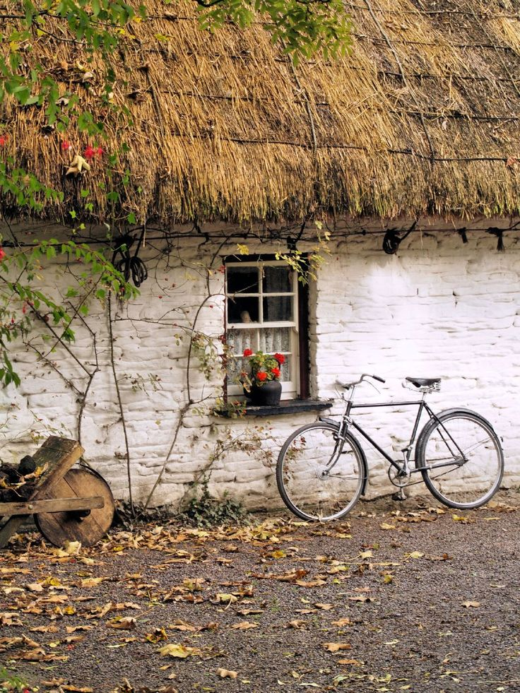 A traditional thatched cottage in Bunratty Folk Village, by unknown author. Repinned by WI/IE.