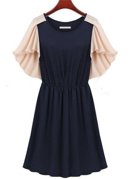 Navy Short Sleeve Cape Pleated Chiffon Dress - Sheinside.com