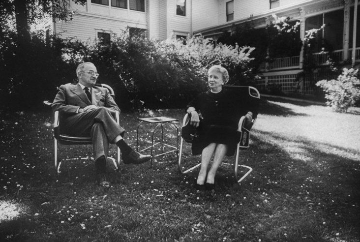 Former president Harry Truman and wife Bess in their back yard in Independence,  Missouri, 1955