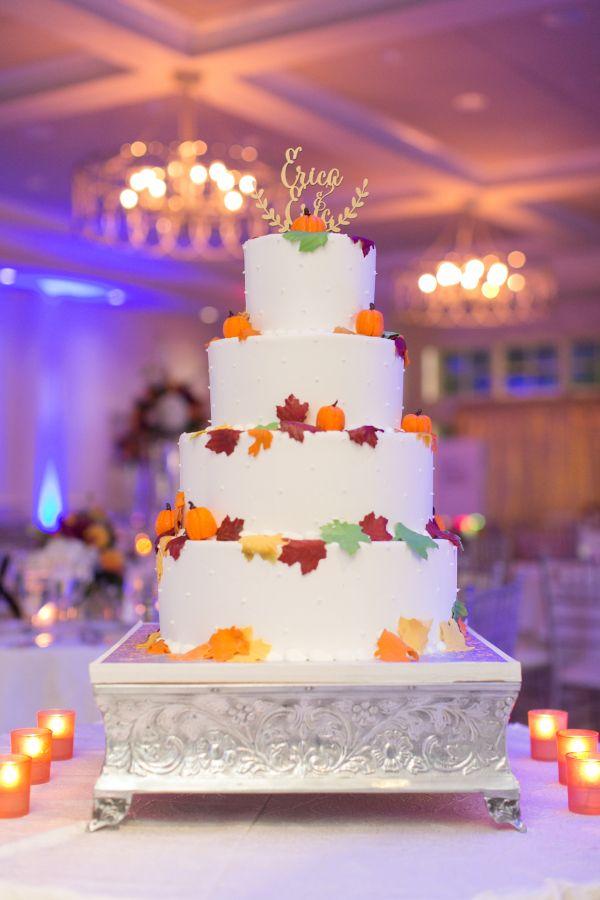 Fall pumpkin wedding cake: http://www.stylemepretty.com/2017/04/24/classic-fall-lakeside-wedding/ Photography: Amy Rizzuto - http://amyrizzutophotography.com/ Assistance: Mekina Saylor - http://mekinasaylor.com/