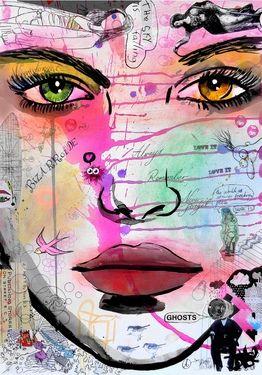 "Saatchi Online Artist Loui Jover; Drawing, ""falling ghosts"" #art"