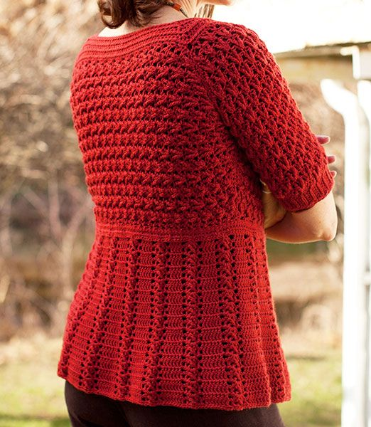 Crochet Cardigan Azilal - Berroco® Free Pattern - written with diagrams for stitchpatterns
