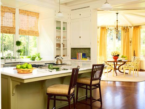 Yellow kitchen + white cabinets + painted island: 'Pale Hound' + 'Green Stone' by Farrow  Ball by xJavierx, via Flickr