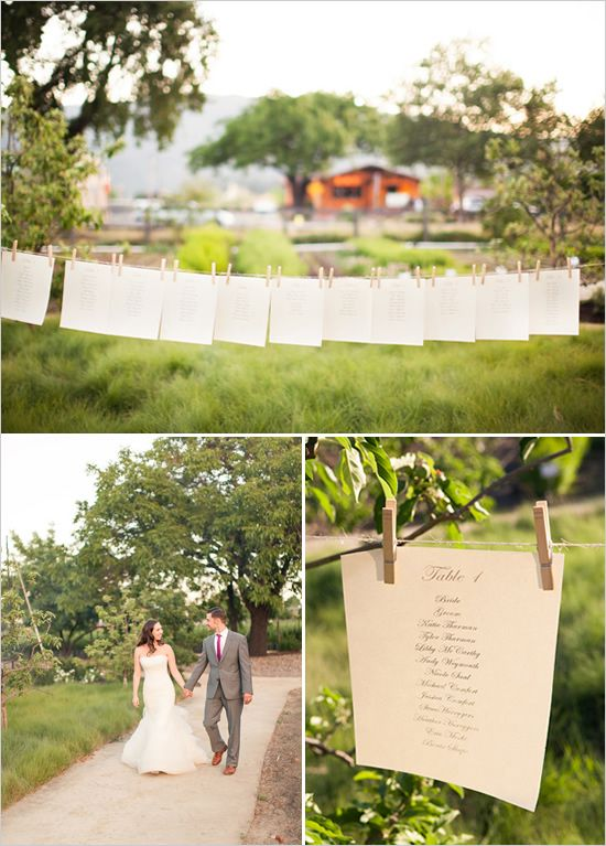 easy seating chart idea.  All you need is clothespins, twine and seating chart... and two trees of course