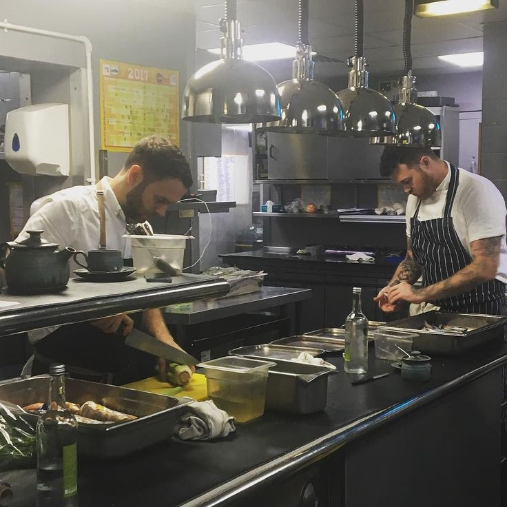 Both chefs starting to prep for this evening #InTheKitchenWith @adschef @cheftombrown @thefrenchmcr #collaboration #mep