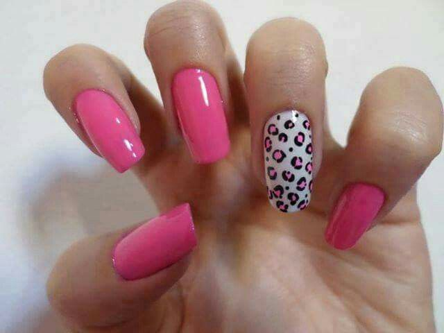 Hot pink with leopard print accent nail
