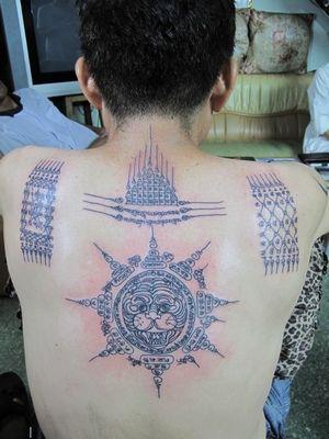 Yant Suea Paed Tidt (Thai Buddhist tattoo).