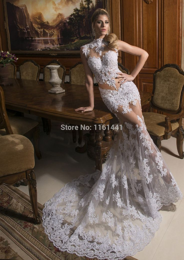 Find More Wedding Dresses Information About 1403261 High Neck Lace See Through DressHigh