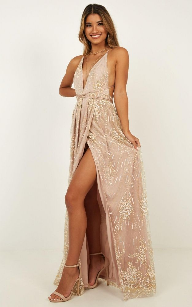 7cfb2ae7859 New York Nights Maxi Dress In Gold Produced in 2019