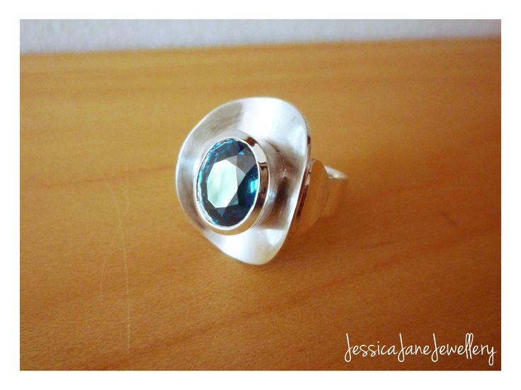 Sterling Silver Aqua Ring