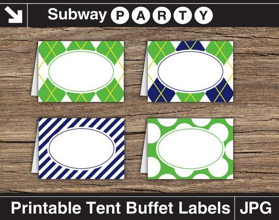 Golf Party Food Labels. Navy Blue Green Argyle by subwayParty