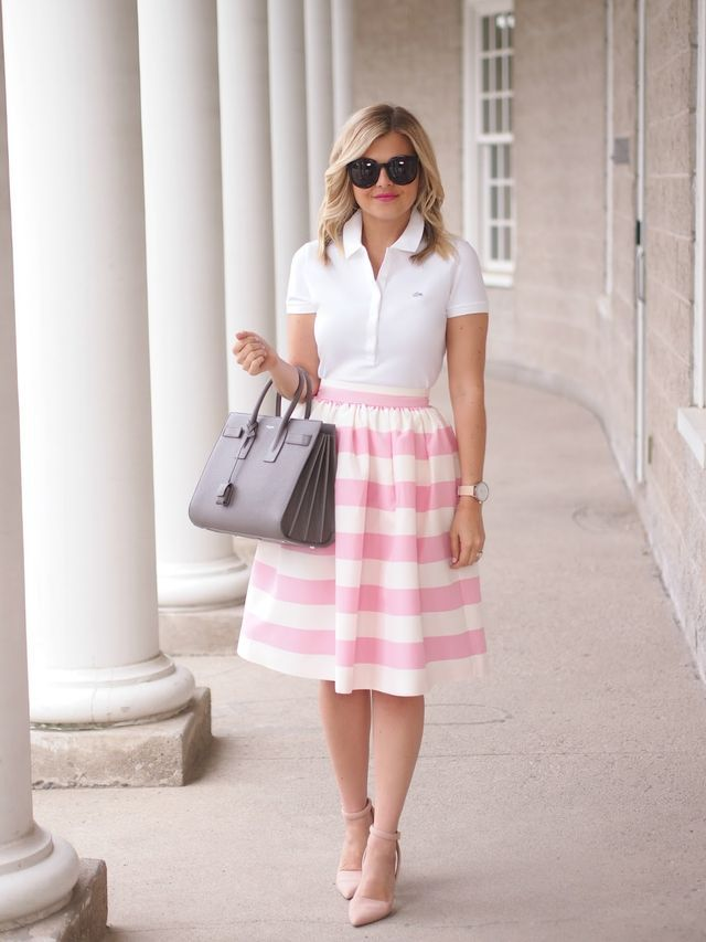 Candy Stripes - Lacoste polo tee shirt, pink striped midi skirt