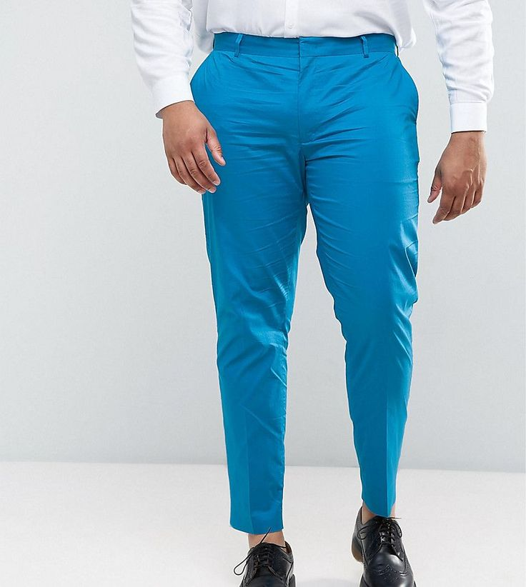 ASOS PLUS Wedding Skinny Suit Pant in Ocean Blue Stretch Cotton - Blue