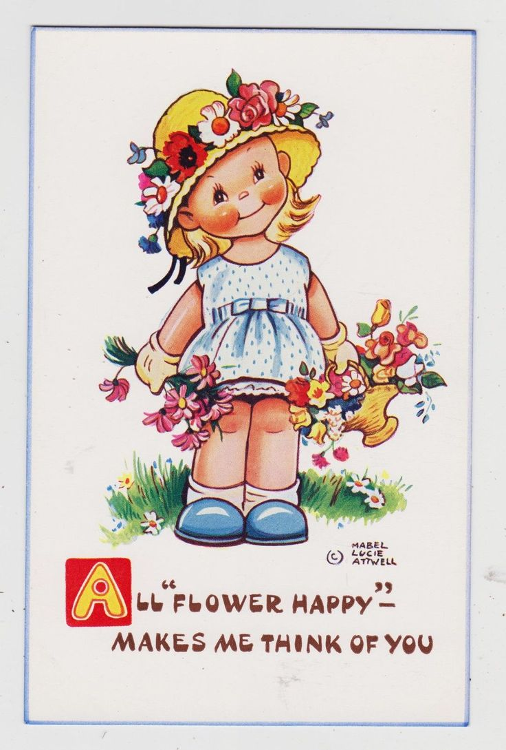 "Signed Mabel Lucie Atwell Postcard,""All Flower Happy - Makes Me Think.."",c.1940s 