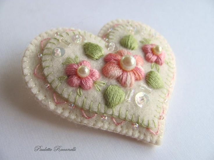 Felt Embroidered Heart - was for sale on Etsy, but shows another possibility for embellishing a plain felt heart.