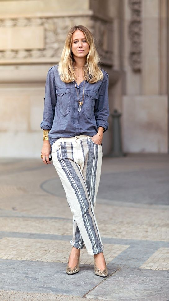 Choose stripe printed linen pants to cool you down this Summer.