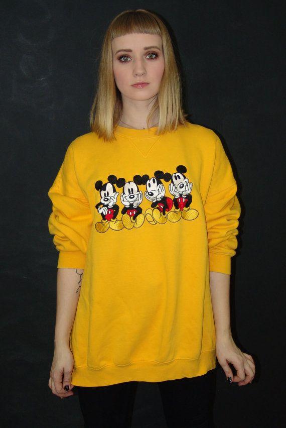Vintage Yellow Mickey Mouse SWEATSHIRT Disney Catalog by YBretro