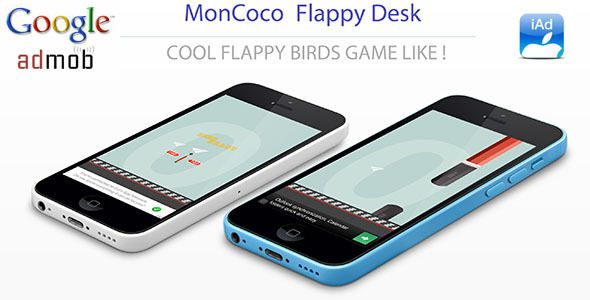 Fun Game - FlappyDesk - GameCenter - iAd - AdMob - IOS 9 . If you Like this App, please don't forget rate it!This app only works on IOS 9 for now ! Flappy Desk is a fun Flappy Birds game like. Make money with this app : iAd version and Admob version.It is compatible with iOS 9.x and runs on iPhone 5 / 5S / 5C / 6 / 6+ / 6s / 6s+ and iPod Touch 5th