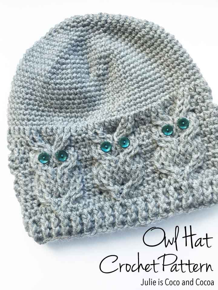 Owl Hat Crochet Pattern from Julie is Coco and Cocoa