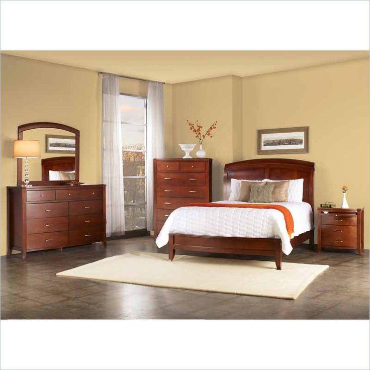 Affordable Contemporary Bedroom Furniture: Modus Brighton 5 Piece Wood Sleigh Bedroom Set In Cinnamon