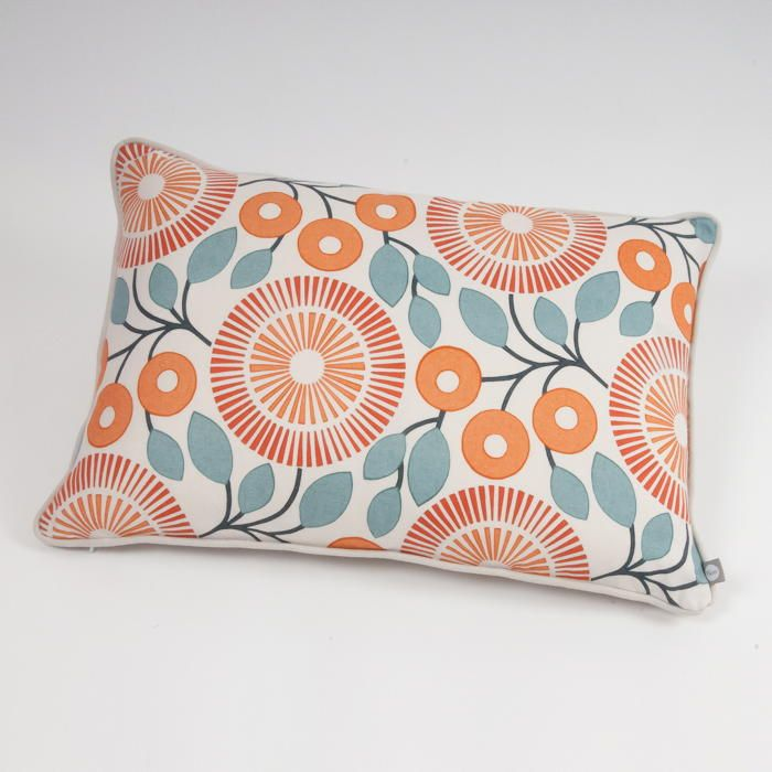 PomPom Graphic Floral Cushion in Firecracker - Designer feather filled cushion from the Alegre Collection designed by Natasha Marshall and printed in the UK.