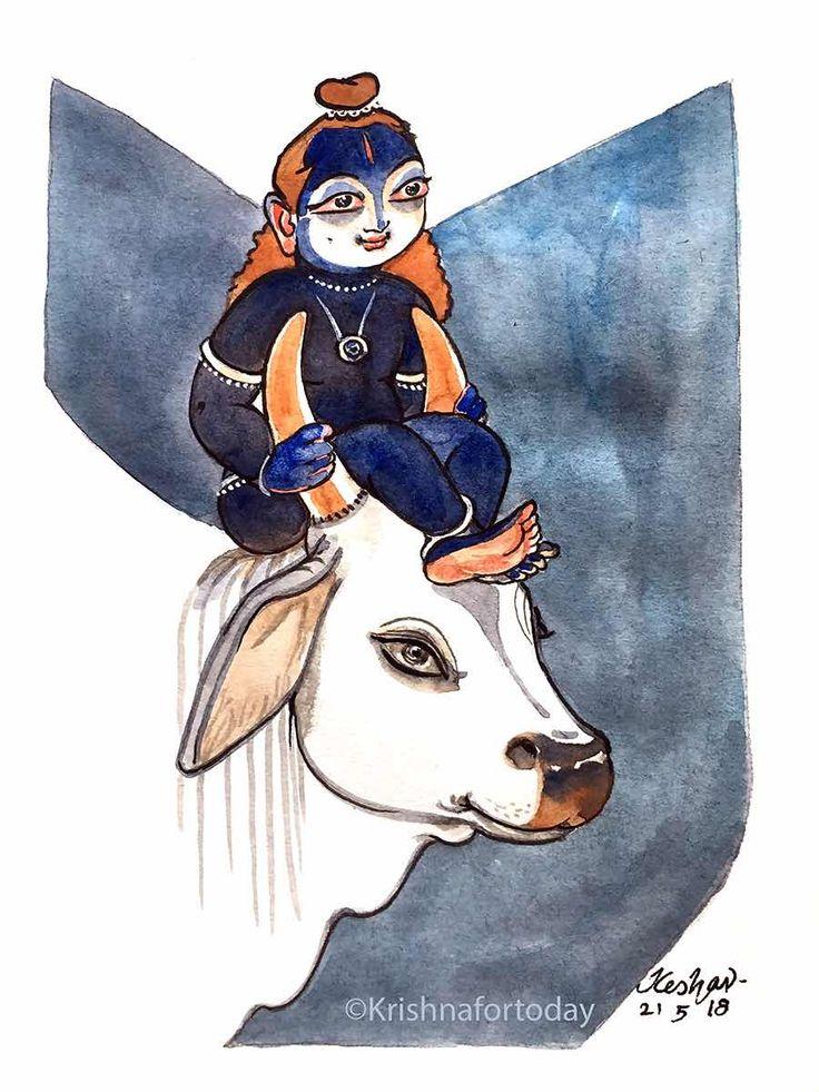 Indian illustration, Krishna painting, Art