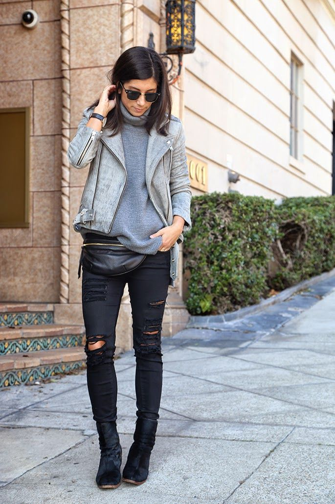 Monochrome, chic grey, ripped denim, boots.....bum bag but cool