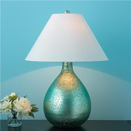 Aqua Metallic Bulb Table lamp