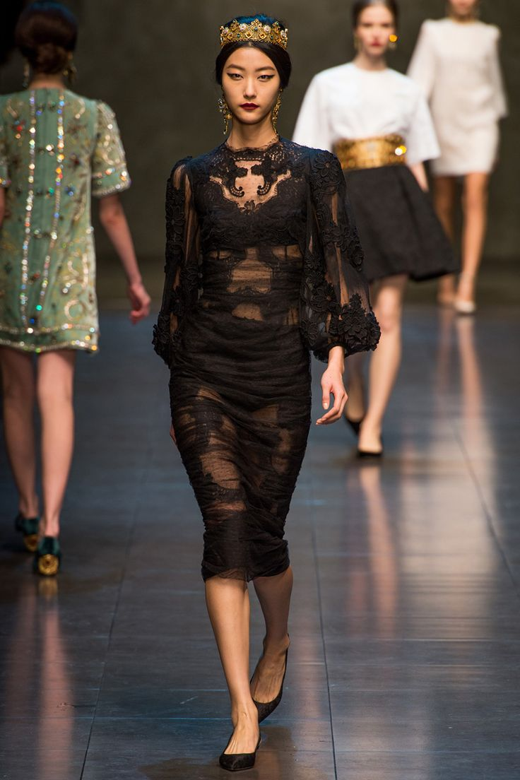 Brown Lace Shift Dress From Dolce Amp Gabbana Featuring A Boat Neck - Dolce gabbana fall 2013 rtw
