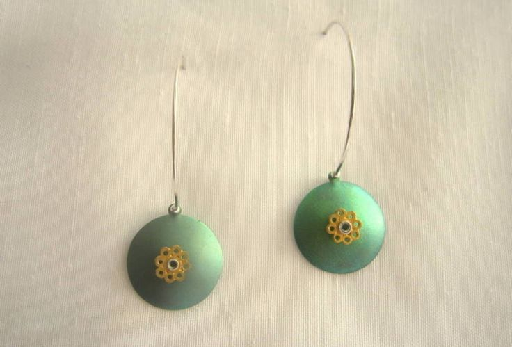handmade sterling silver and titanium earrings with gold plated brass tiny flower by KORMENTZACREATIONS on Etsy