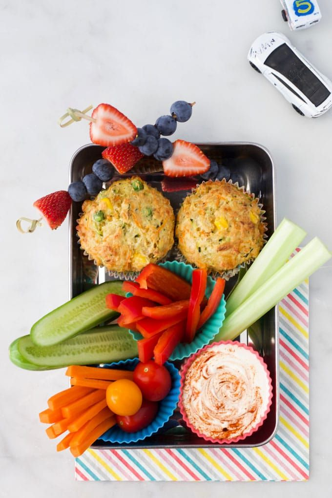 Lunch Tray with Savoury Muffins, Vegetables and a Dip