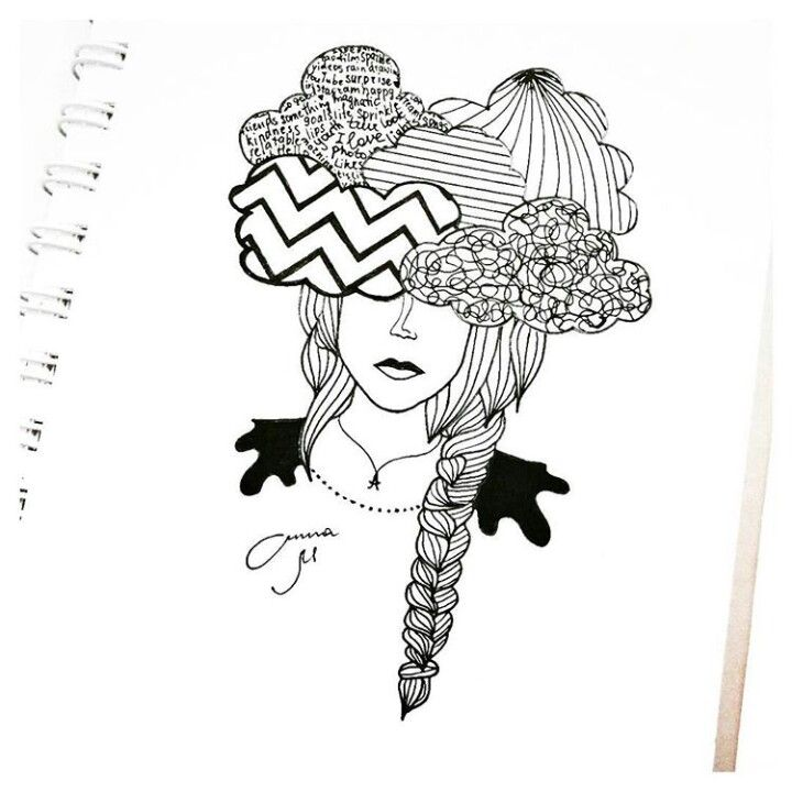 Tumblr drawing Head in the clouds