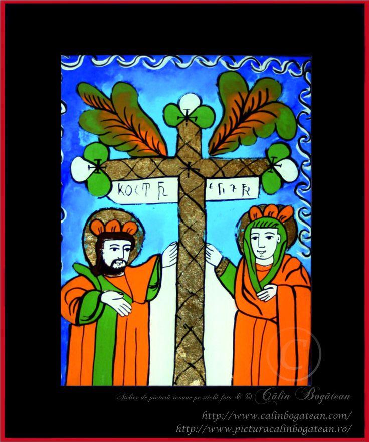 Sfinții Costantin și Elena icoană naivă pictată pe dosul sticlei în ulei pictură tradițională lucrare de artă religioasă icoană ortodoxă pe sticlă icoană Sfinții Costantin și Elena icoană  pictată  pe sticlă cu Sfinții Costantin și Elena
