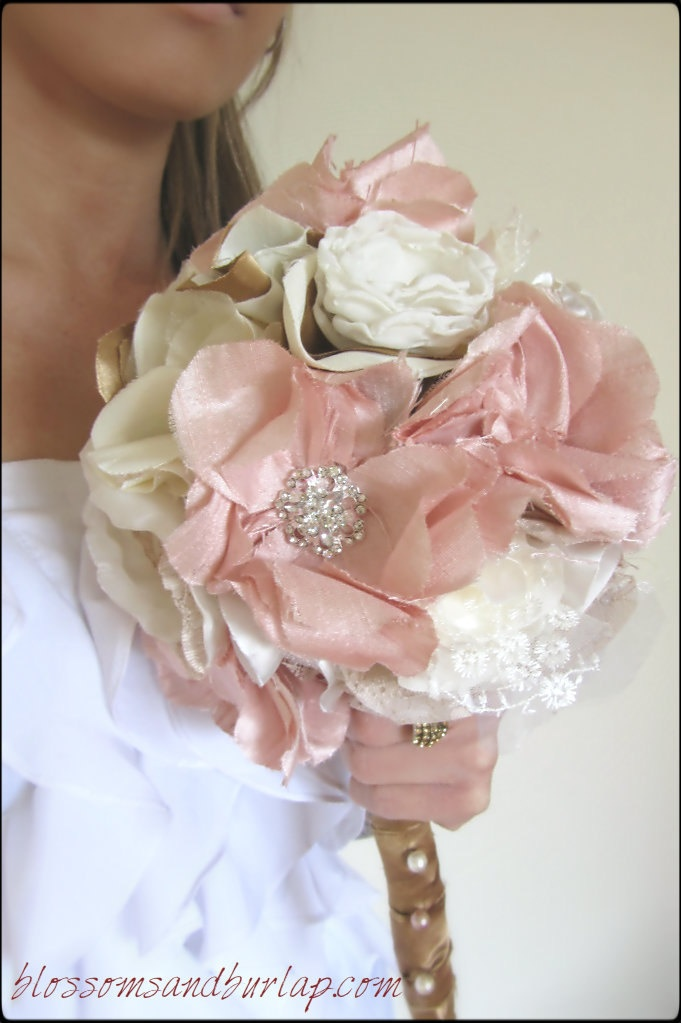 106 best handmade flowers images on pinterest bridal bouquets shabby chic fabric flower bouquet fabric bouquet handmade silk flower 20000 mightylinksfo